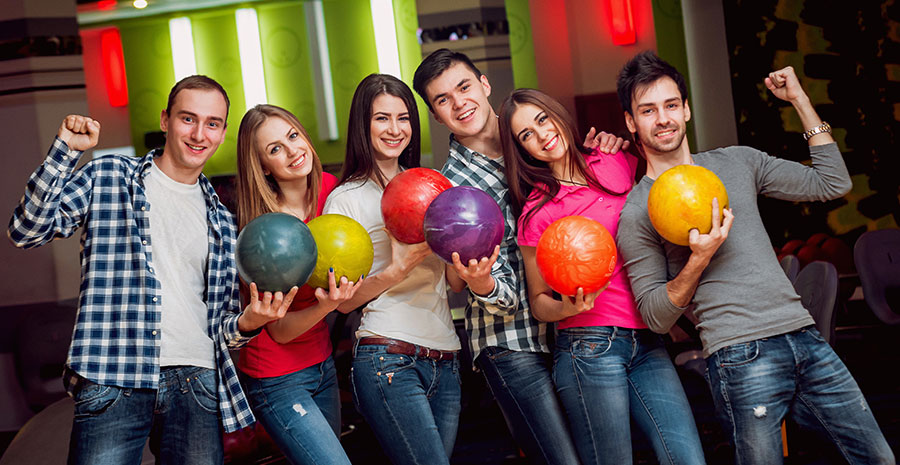 Six Young Adults Happy - Ready To Bowl