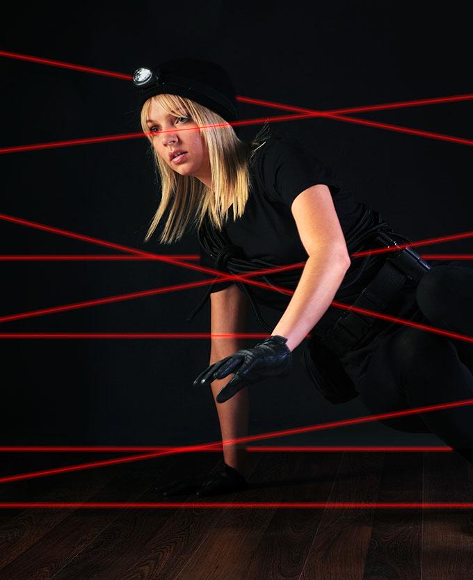 Guest Attempting Laser Maze